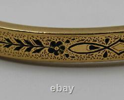Antique Black Enamel Mourning Thin Bangle Bracelet Dated 1925 14K Yellow Gold
