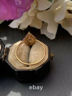 Antique Black Enamel Yellow Gold 14k Marquise Pearl