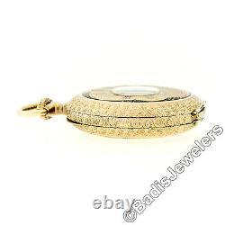Antique Detailed 14k Rose Gold & Black Enamel Half-Hunter 11j Swiss Pocket Watch