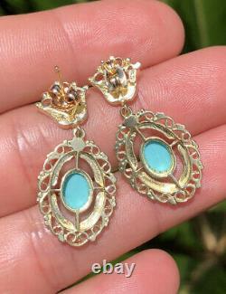 Antique ETRUSCAN 14k Yellow Gold PERSIAN TURQUOISE & Black Enamel Crown Earrings