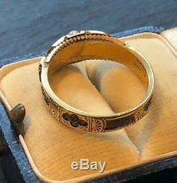 Antique Early Victorian Black Enamel Memorial Ring Hallmarked 15ct Gold