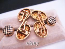 Antique Edwardian Art Deco era 14K Gold Filled Enamel Cufflinks Buttons & Studs