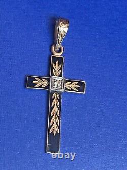 Antique Estate 10k Gold Diamond Pendant Cross Black Enamel Signed B