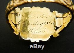 Antique Georgian 18ct Gold, Black Enamel & Pearl Mourning Ring 1825