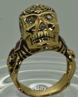 Antique Georgian Memento Mori 18k Gold, black Enamel, Diamonds&Ruby Skull ring