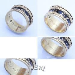 Antique Georgian Mourning Memorial Ring 18k Gold Black Enamel 1829 (6858)