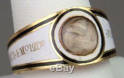 Antique Georgian Pink Gold White Black Enamel Child's Mourning Ring 1802 Boxed