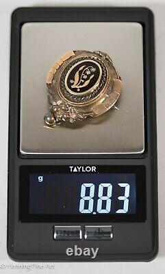 Antique Gold 19th Century Victorian Mourning Brooch with Black Enamel May 1878