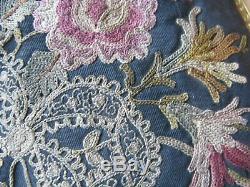 Antique Gold Enamel Jewel Frame Silk Forbidden Stitch Floral Embroidery Purse #1