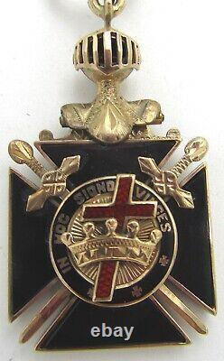 Antique Gold & Enameled Knights Templar Fob, Gold Knight Red Cross Black Shield