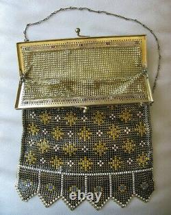 Antique Gold Filigree Red Blue Jewel Frame Black Yellow Enamel Chain Mail Purse