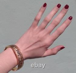 Antique Gold Fill Engraved Floral Design Black Enamel Hinged Bangle Bracelet