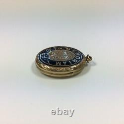 Antique Gold Plated In Memoriam Black Enamel Hair Locket 2.8cm Diameter