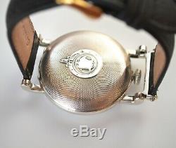 Antique Hebdomas 8 days silver men's watch enamel guilloche solid gold inlay