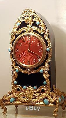 Antique Jeweled Guilloche Enamel Black Glass Gold Ormolu Mantel SWISS Clock