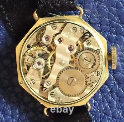 Antique Ladies Wrist Watch 14k Yellow Gold Enamel Diamond Mignon Preciosa Swiss