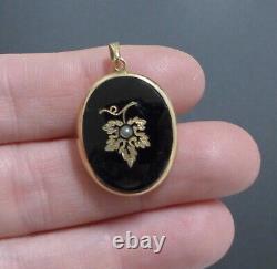 Antique Ornate Victorian Black Enamel Rolled Gold Pearl Locket Mourning Pendant