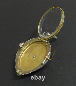 Antique Ornate Victorian Rolled Gold Black Enamel Mourning Locket Brooch Pendant