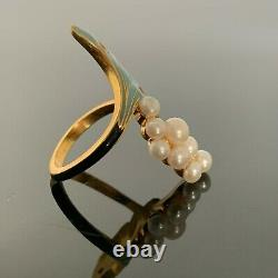 Antique Russian Faberge 14K Gold, Blue and Black Enamel, 8 Pearls, Ladies Ring