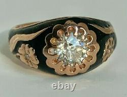 Antique Russian Faberge 14K Pink Gold Black Enamel 1.23ct. Diamond Ladies Ring