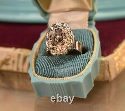 Antique Victorian 10K 14K gold black enamel pearl ring sz 7