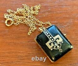 Antique Victorian 10k Gold Memorial Locket Black Enamel Gold Filled Chain