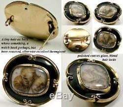 Antique Victorian 12K Gold Mourning Brooch, Black Enamel & Blond Hair Art