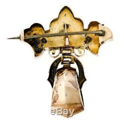 Antique Victorian 14K Gold Black Enamel Detailed Etched Dangle Brooch Pendant
