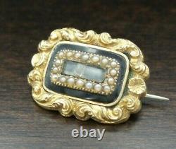 Antique Victorian 14K Gold Mourning Brooch, Black Enamel, Pearls & Hair Art