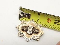 Antique Victorian 14K Gold Taille D'Epargne Black Enamel Brooch Pin Mourning