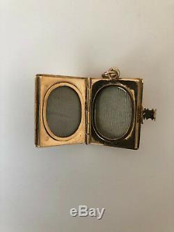 Antique Victorian 14K Yellow Gold Rectangular Book Locket, Black Enamel Inlay