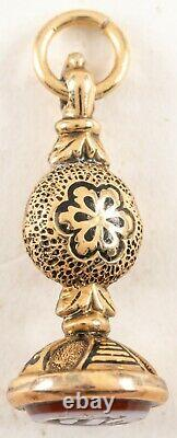 Antique Victorian 14k Gold Black Tracery Enamel Initial Seal Fob