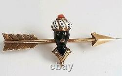 Antique Victorian 14k Gold Blackamoor Coral Enamel Arrow Brooch Pin-Estate 3 gm