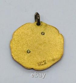 Antique Victorian 14k Yellow Gold & Black Enamel Cross Charm Pendant