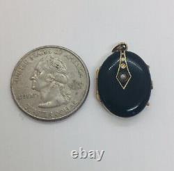 Antique Victorian 14k Yellow Gold Black Enamel Small Locket Pendant