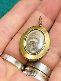 Antique Victorian 15 Ct Gold Mourning Locket / Pendant White & Black Enamel 1880