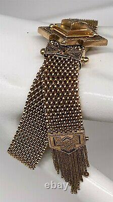 Antique Victorian 1870s $7000 Black Enamel 14k Yellow Gold TASSLE Bracelet 32g