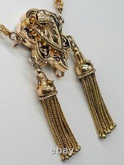 Antique Victorian 1880s Black Enamel 14k Yellow Gold 18 14k Tassle Necklace 28g