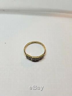 Antique Victorian 22 Carat Gold and Black Enamel Pearl Set Mourning Ring
