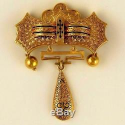 Antique Victorian 9K Yellow Gold Black Enamel Dangle Brooch Pin c. 1890s