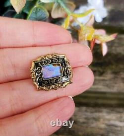 Antique Victorian 9ct Gold Black Enamel and Butterfly Wing Mourning Brooch Pin