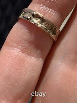 Antique Victorian 9ct Yellow Gold Black Enamel Pearl Mourning Band