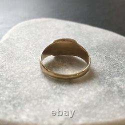 Antique Victorian Black Enamel & Gold Mourning Ring