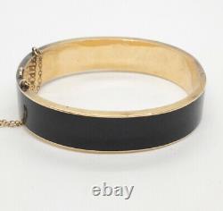 Antique Victorian Black Enamel & Pearl Mourning Bangle Bracelet 14k Yellow Gold