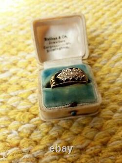 Antique Victorian/Edwardian gold seed pearl diamond mourning ring black enamel
