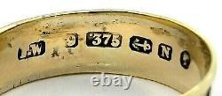 Antique Victorian Memento Mori 9k Yellow Gold Black Enamel Band Siz 10 US 350579