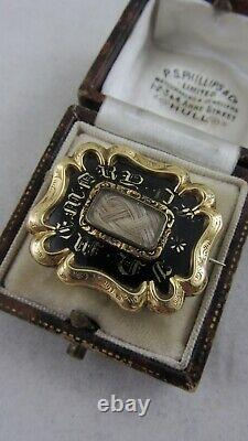 Antique Victorian Mourning Brooch 9ct Gold and Black Enamel Initials DH to back