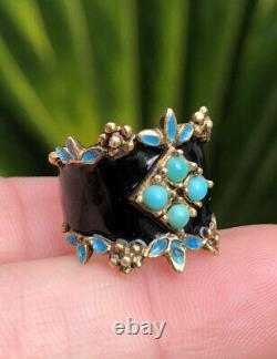 Antique Victorian Natural Persian Turquoise & Black Enamel 14k Yellow Gold Ring