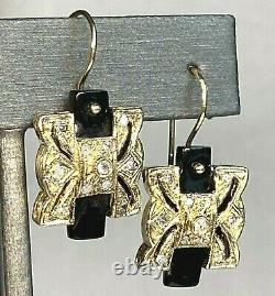 Antique Victorian Pierced 18K Yellow Gold Diamond Black Onyx Dangle Earrings