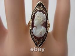 Antique Victorian Vintage 10K Yellow Gold Cameo Ring Black Enamel